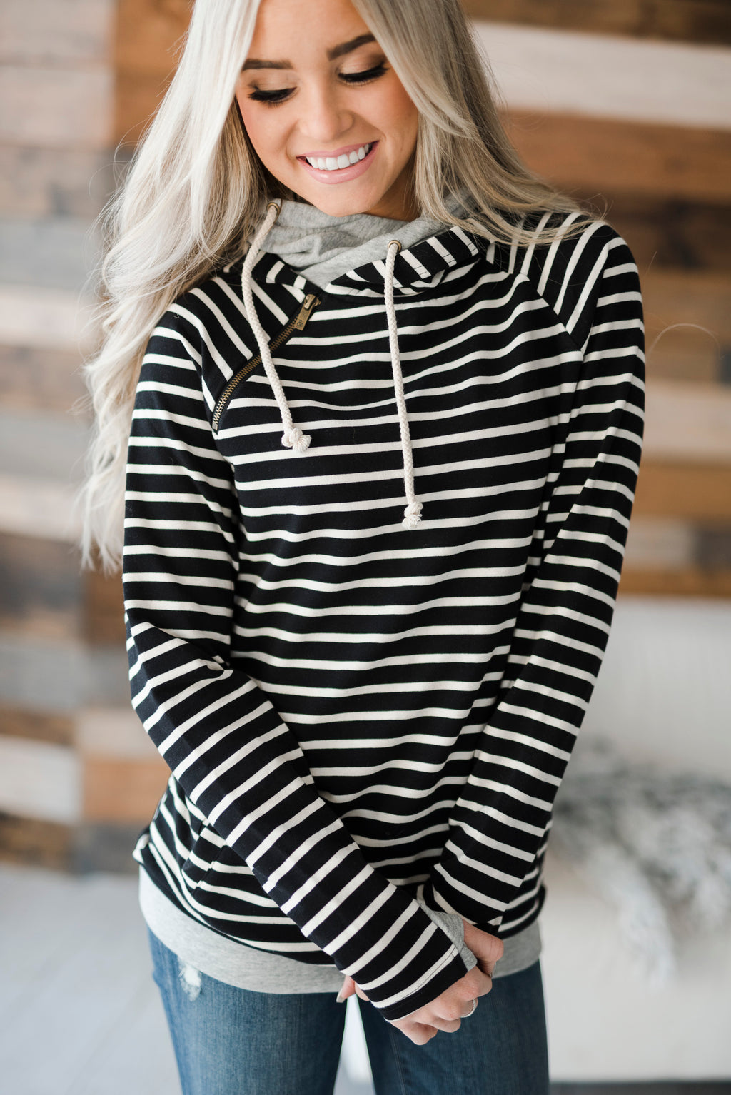 DoubleHood™ Sweatshirt - Black Stripe