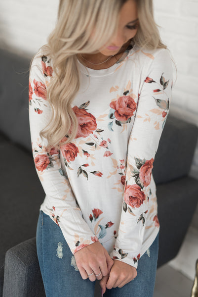 Long Sleeve Chloe Tee - White