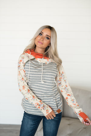 Baseball DoubleHood™ Sweatshirt - Orange Floral Accent