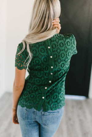 Button Back Lace Top - Green