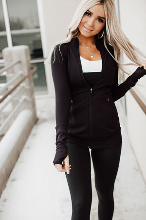 Ribbed Longline Active Jacket - Black