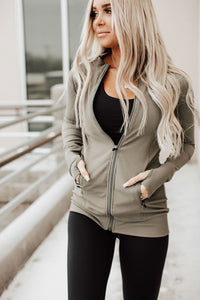Ribbed Longline Active Jacket - Olive