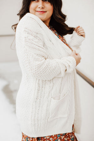 Andrea Cable Knit Cardigan - Cream