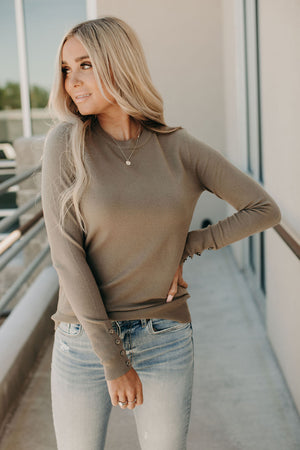 Lea Button Cuff Sweater - Olive