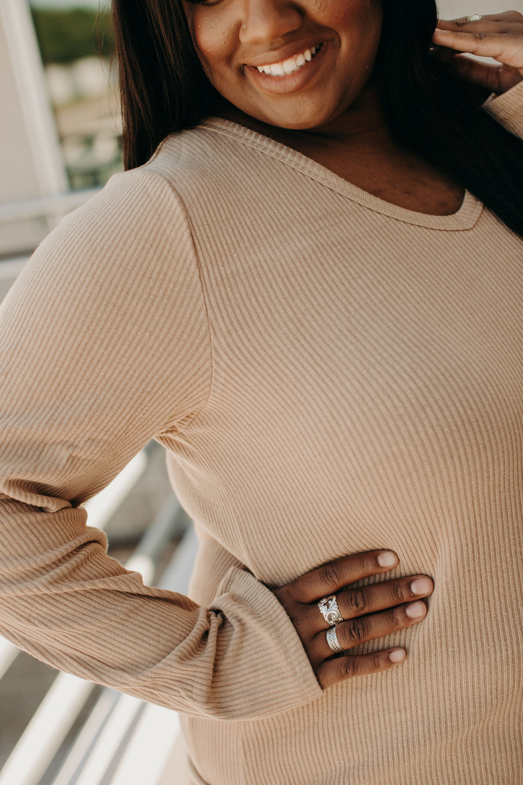 Ribbed VNeck - Natural
