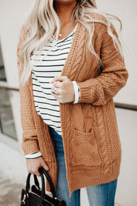 Andrea Cable Knit Cardigan - Caramel