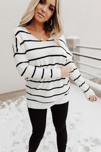 Kaylee Striped Sweater - Ivory