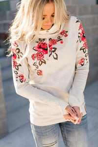 DoubleHood™ Sweatshirt - Floral Embroidered