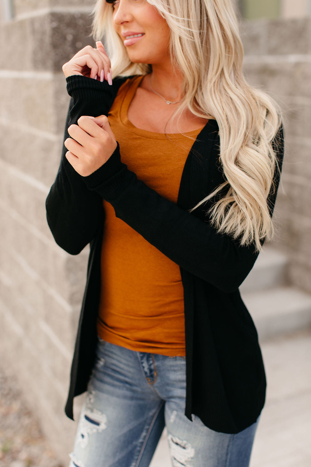 Ribbed Accent Cardigan - Black