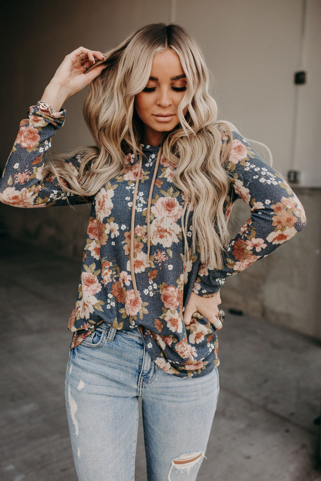 Angelica Floral Hooded Top