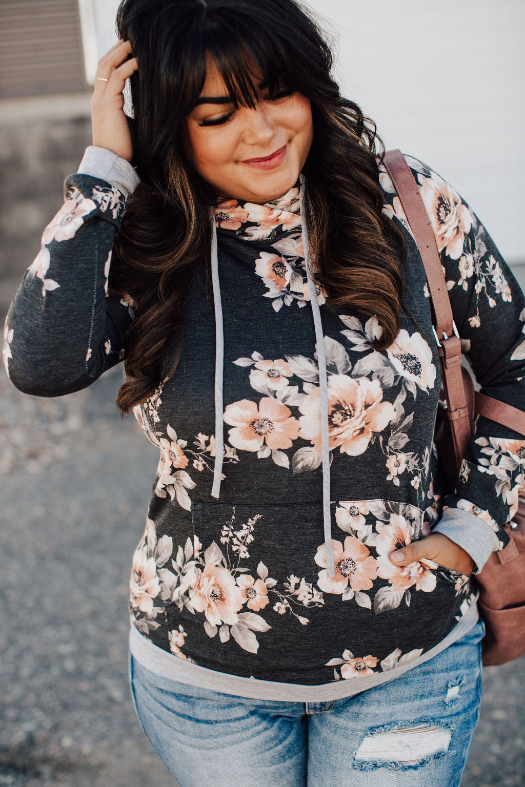 Hailey Floral Hoodie - Charcoal