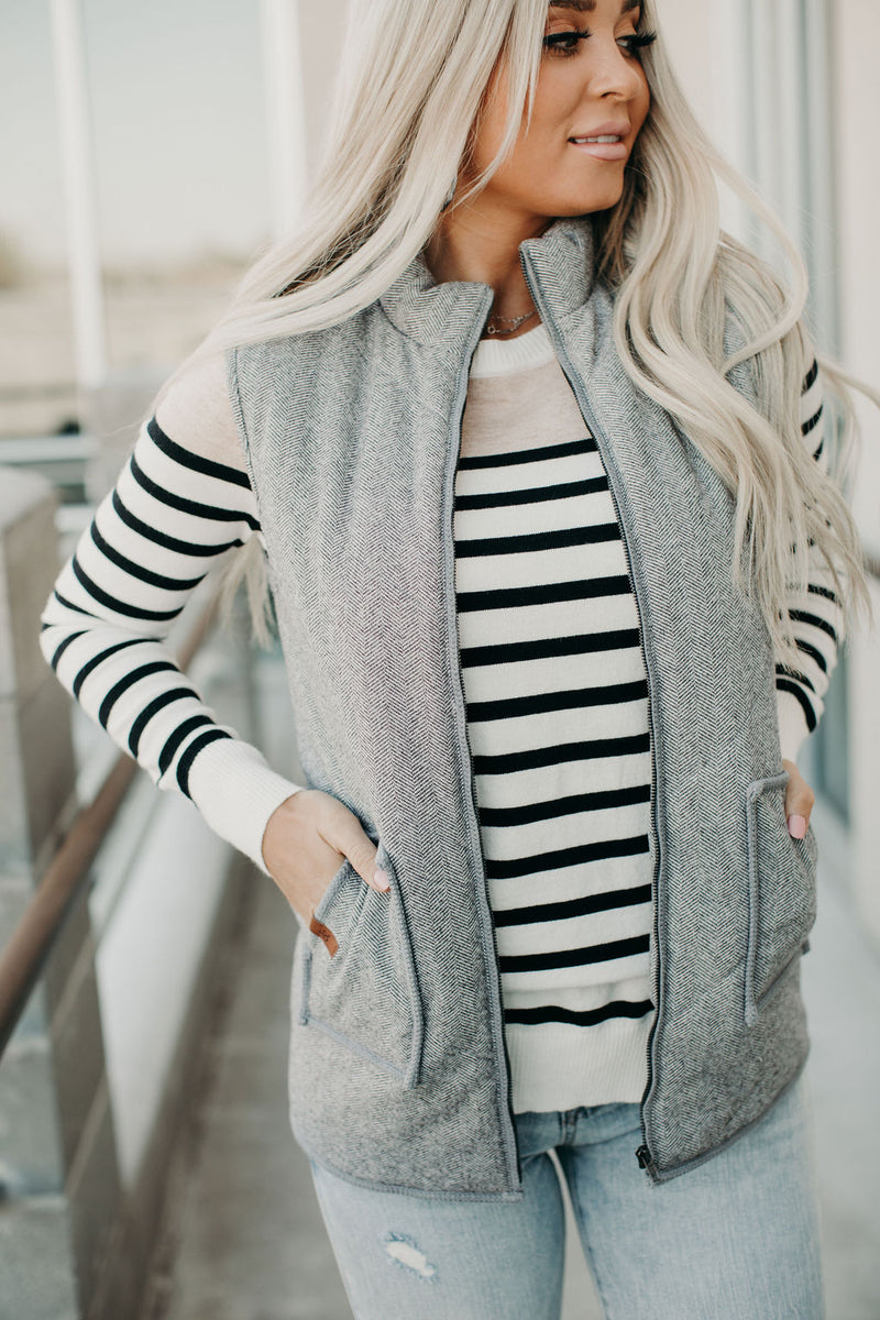 Herringbone Vest - Charcoal