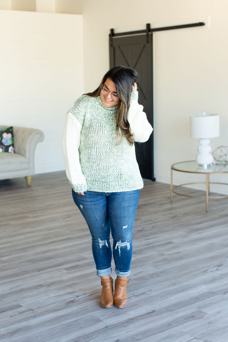 Jules Cowl Neck Sweater - Sage