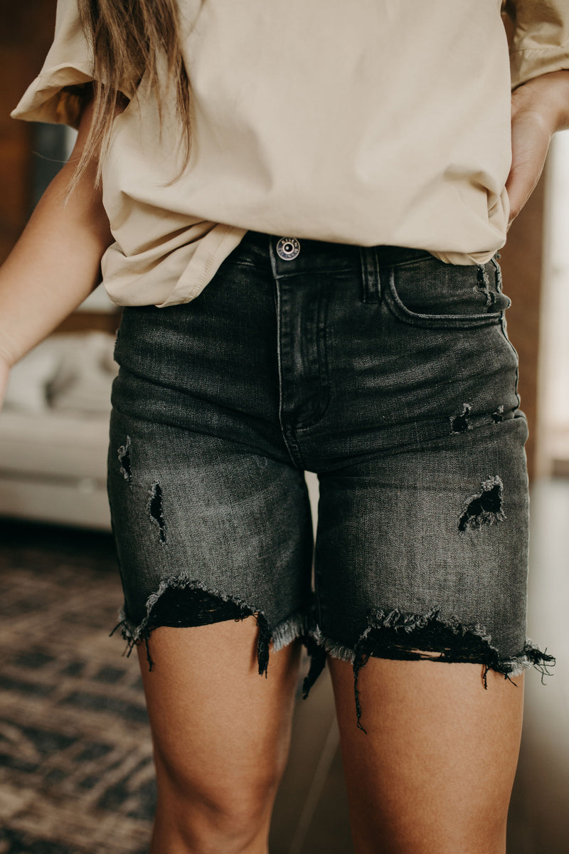 Rock Show Distressed Shorts - Black