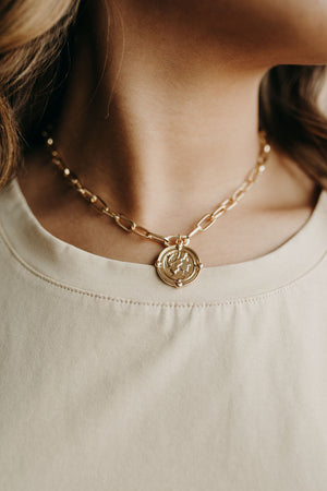 Coin Charm Chain Link Necklace