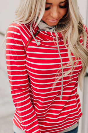 DoubleHood™ Sweatshirt - Red Stripe