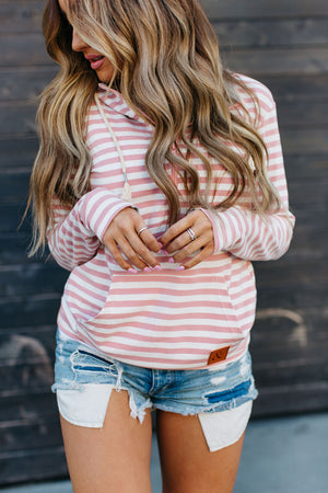 Pink Stripe Half Zip Hoodie with Grey Accents, Nursing Friendly Sweatshirt