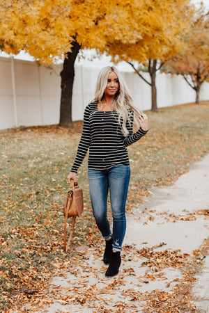 Fiona Striped Button Top