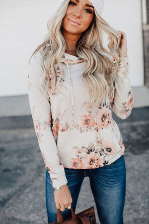 Hailey Floral Hoodie - Oatmeal