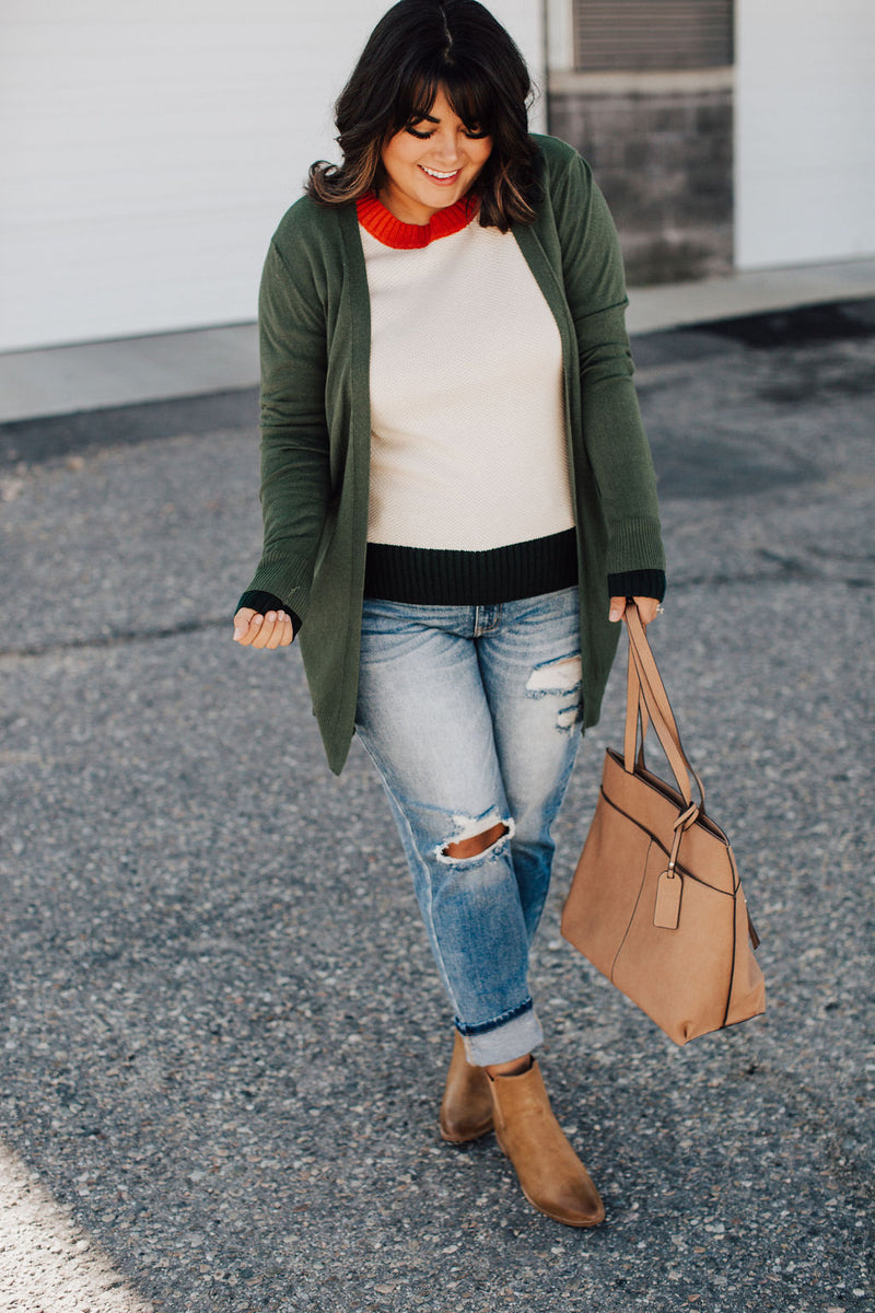 Ribbed Accent Cardigan - Olive
