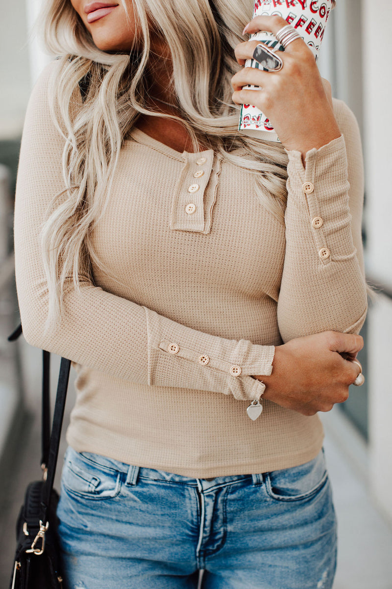 Time is Right Henley Top - Taupe
