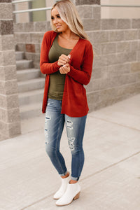 Ribbed Accent Cardigan - Rust