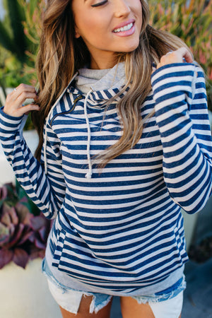 DoubleHood™ Sweatshirt - Navy Stripe