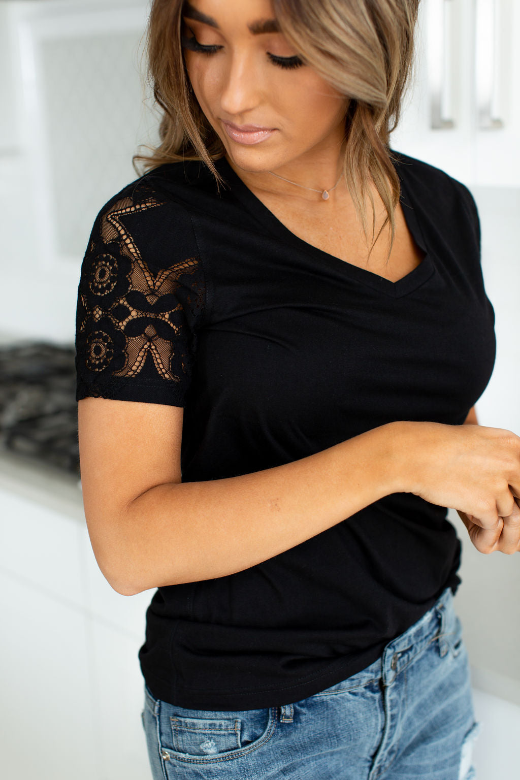 Lace Sleeve Tee - VNeck Black