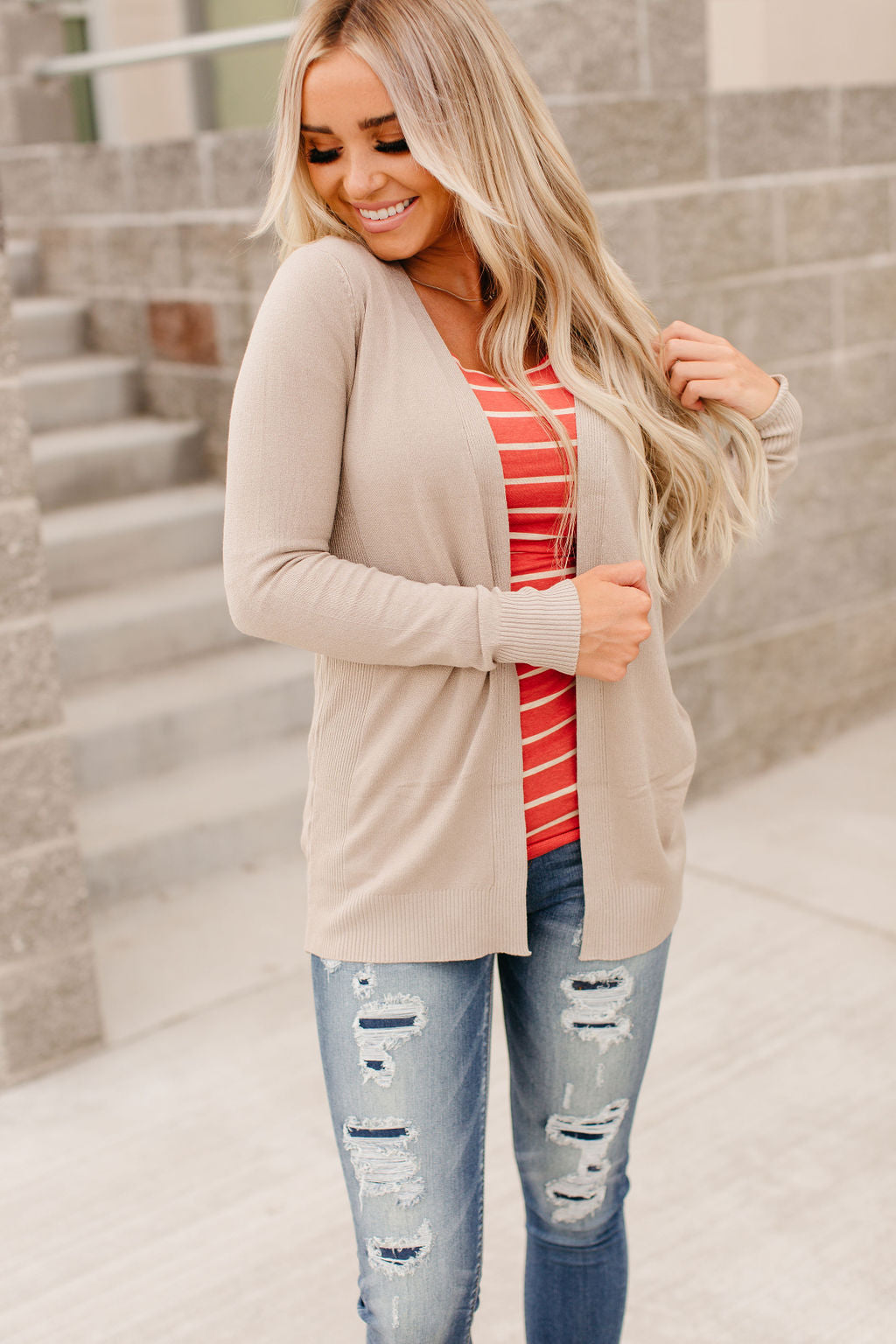 Ribbed Accent Cardigan - Mocha