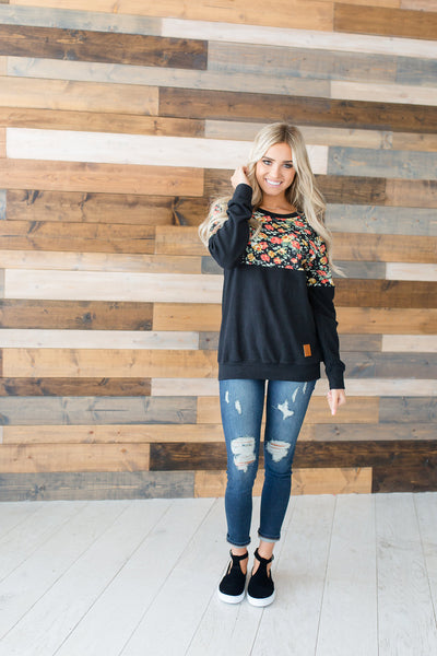 Floral Accent Pullover