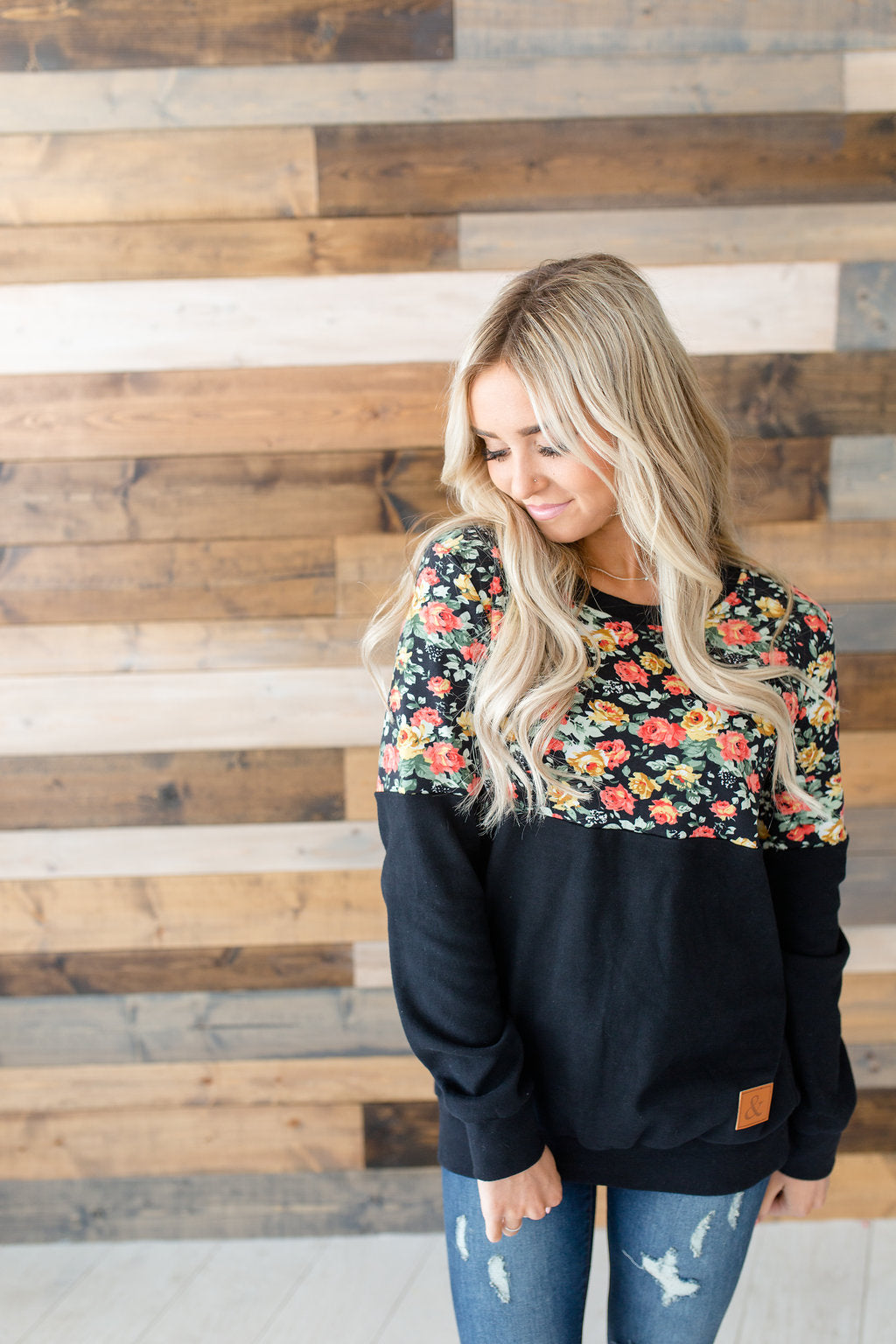 Floral Accent Pullover - Black