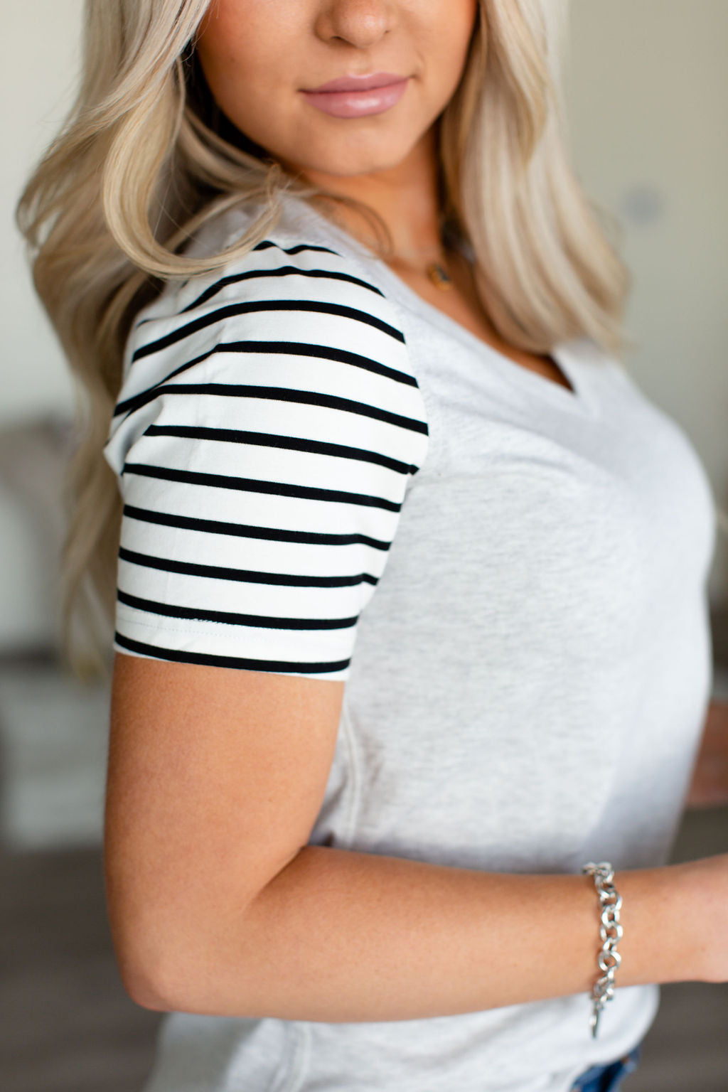 Lulu Accent Tee - Black Stripe Sleeve
