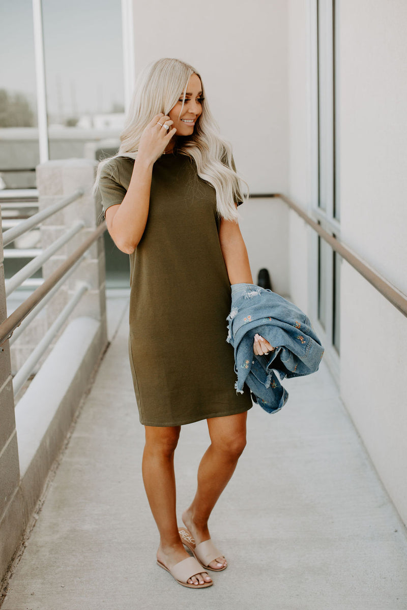 Ollie TShirt Dress - Olive