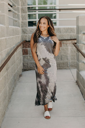 Cloudy Tie Dye Dress - Charcoal