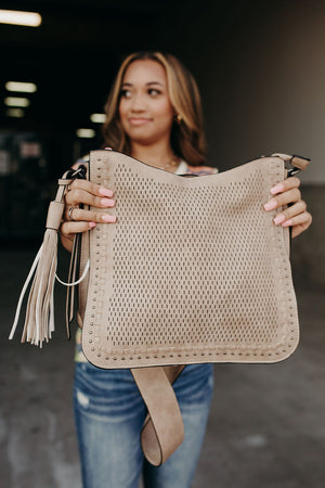 Lasercut Studded Crossbody