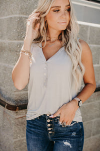Forever Yours Henley Tank - Grey