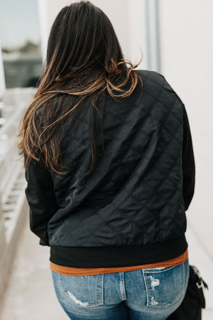 Quilted Zip Bomber - Black