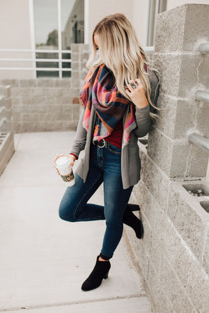Berry Plaid Blanket Scarf