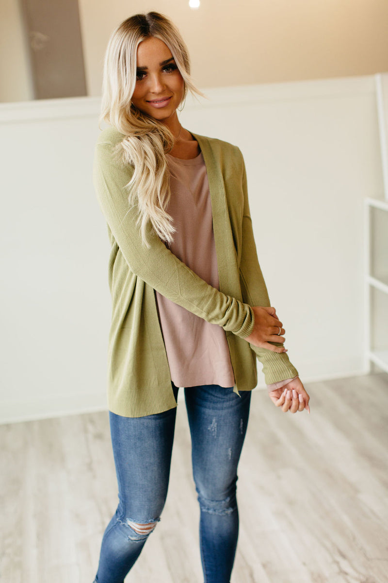 Ribbed Accent Cardigan - Sage