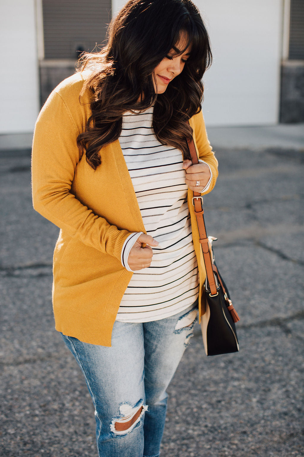 Ribbed Accent Cardigan - Gold