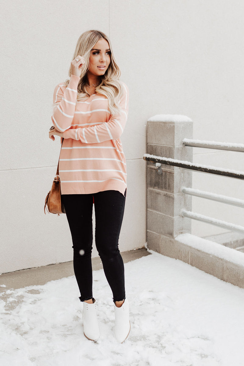 Kaylee Striped Sweater - Peach