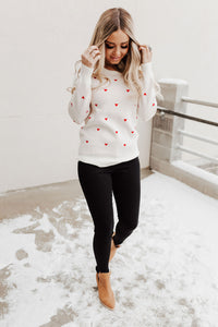 Be Mine Heart Sweater - Ivory