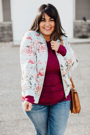 Stay With Me Floral Bomber - Blue