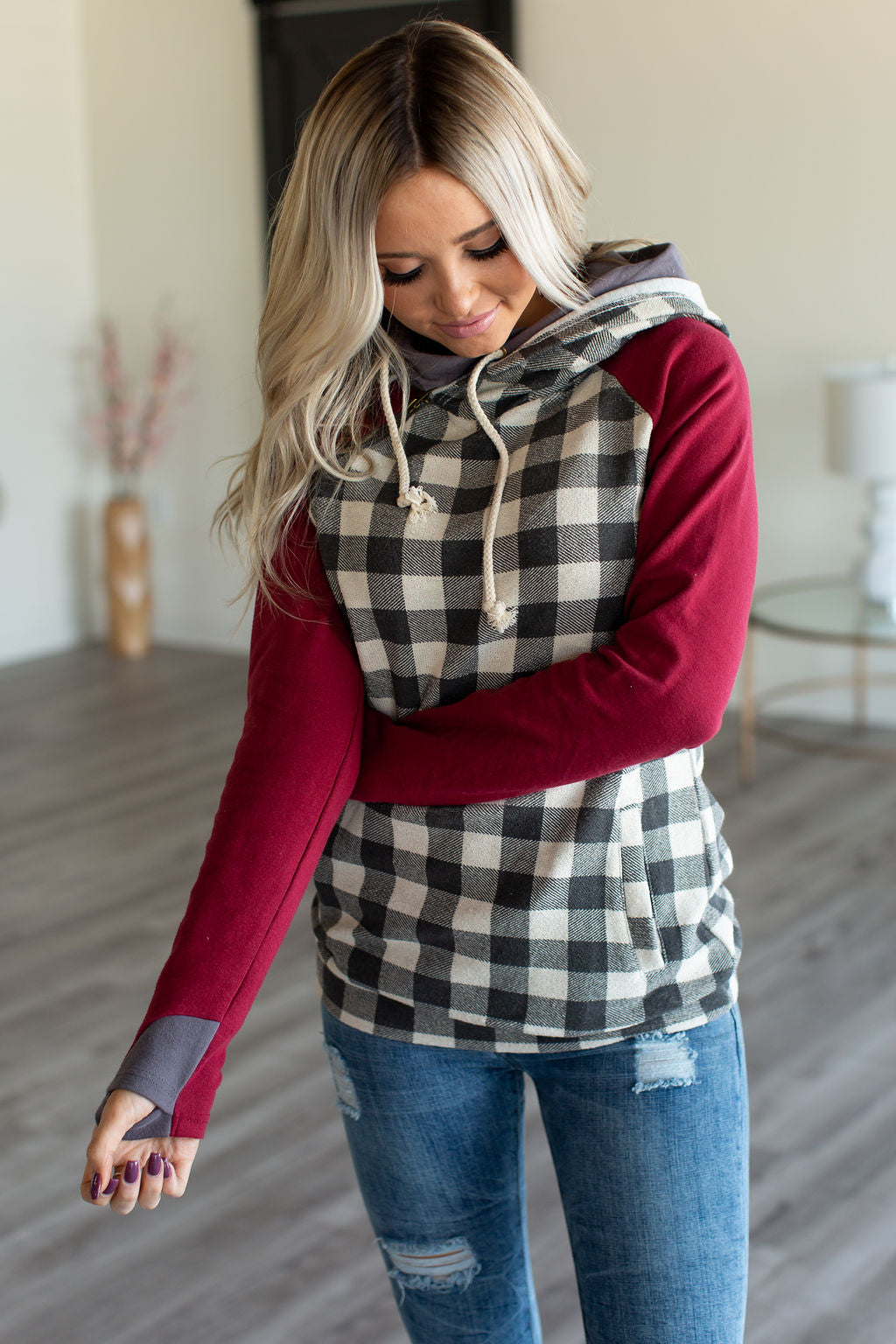 DoubleHood™ Sweatshirt - Burgundy & Gingham
