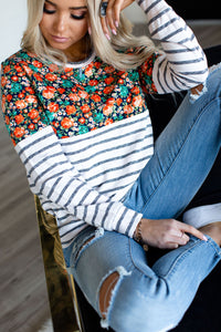 Floral Accent Pullover - Orange & Stripe