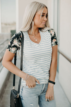 Lulu Accent Tee - Blue Floral