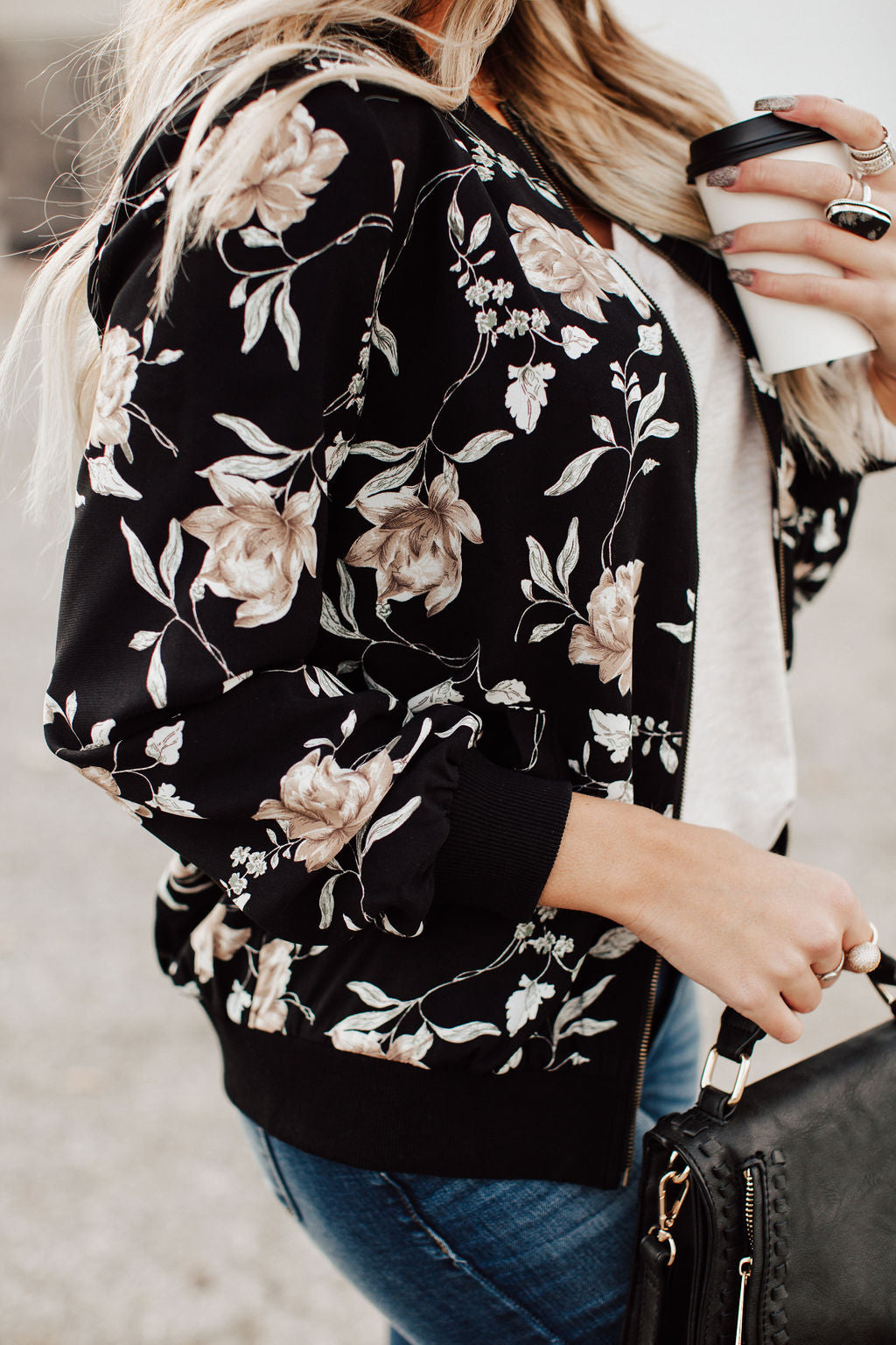 Stay With Me Floral Bomber - Black
