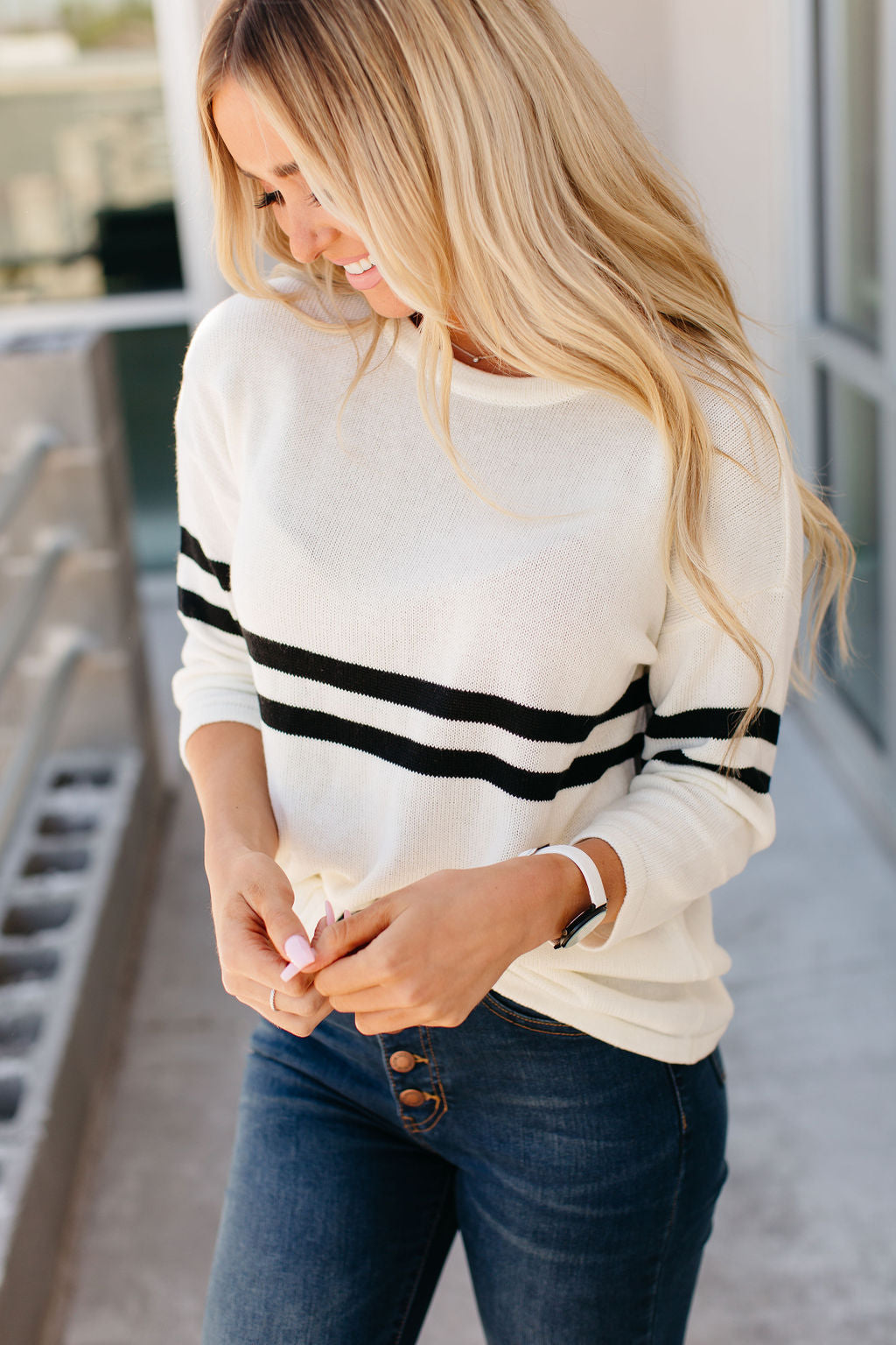 Stripe Knit Varsity Sweater