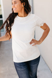 Lulu Lace Trim Tee - White