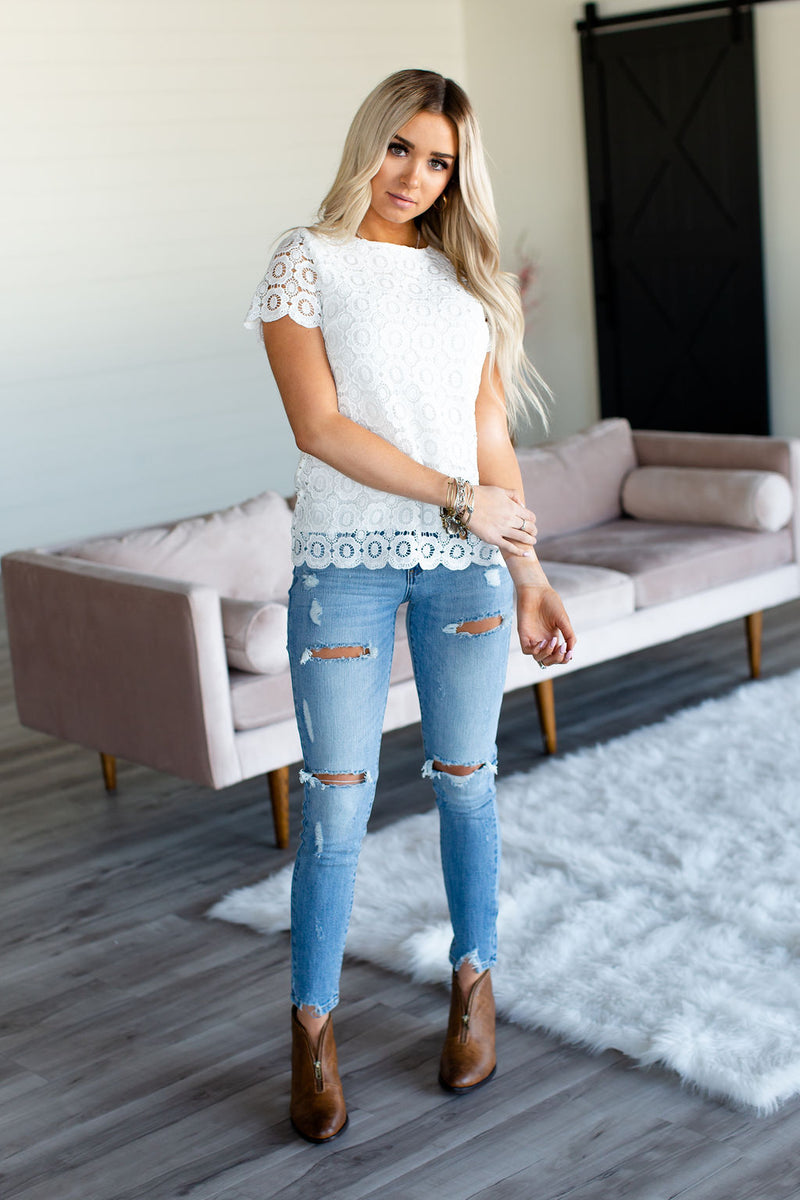 Button Back Lace Top